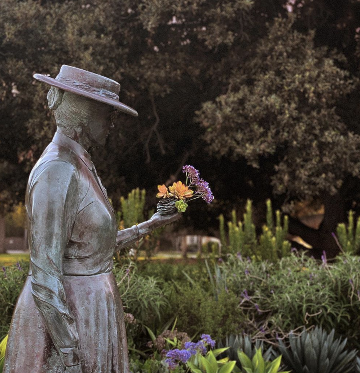 Bronze statue of Kate Sessions located in Balboa Park's Sefton Plaza.